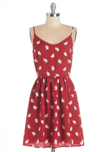 Hearten Soul Dress - Woven, Red, White, Print with Animals, Casual, A-line, Spaghetti Straps, Good, V Neck