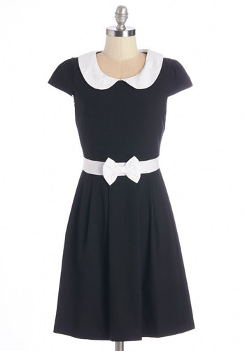 Address Rehearsal Dress - Woven, Black, White, Solid, Bows, Peter Pan Collar, Casual, A-line, Cap Sleeves, Better, Collared