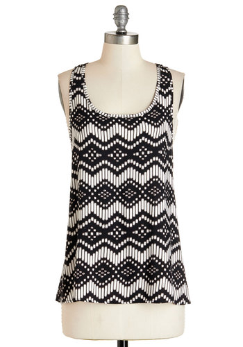 Angle Wrangler Top - Mid-length, Woven, White, Print, Tank top (2 thick straps), Summer, Black/White, Sleeveless, Black, Scoop