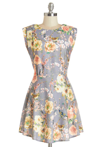 Flock to the Garden Dress - Multi, Floral, Print with Animals, Casual, A-line, Cap Sleeves, Woven, Good, Scoop, Bird, Woodland Creature