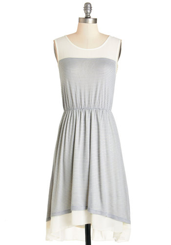 Misty Start Dress - Grey, White, Stripes, Tiered, Casual, A-line, Sleeveless, Summer, Knit, Better, Scoop, Mid-length, Jersey