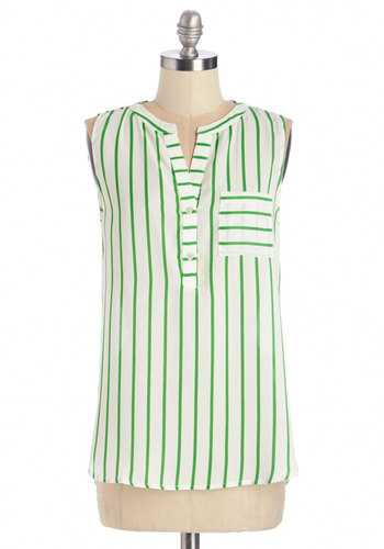 Epicurize On the Prize Top - Woven, White, Stripes, Casual, Sleeveless, Summer, White, Sleeveless, Green, Buttons, Pockets
