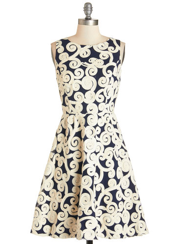 Swirl into the Soiree Dress - Blue, Party, Daytime Party, A-line, Sleeveless, Woven, Better, Scoop, Mid-length, Tan / Cream, Print