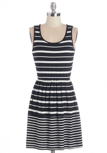 Sundial Be There Dress - Black, White, Stripes, Casual, A-line, Sleeveless, Knit, Good, Scoop