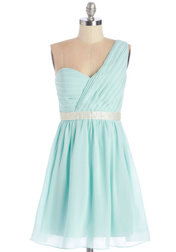 Right Place, Delightful Time Dress - Blue, Silver, Solid, Beads, Pleats, Prom, Pastel, A-line, One Shoulder, Summer, Woven, Better, Chiffon, Party, Homecoming