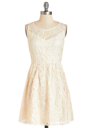 What Makes Me Romantic Dress - Cream, Solid, Backless, Lace, Special Occasion, Wedding, Daytime Party, Bride, A-line, Sleeveless, Woven, Lace, Better, Scoop, Mid-length, Graduation