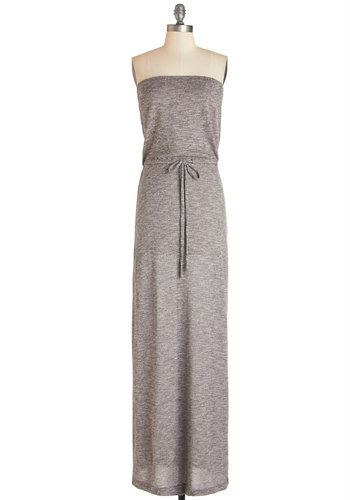 Books on the Beach Dress - Grey, Solid, Casual, Maxi, Strapless, Knit, Good, Long, Beach/Resort, Summer