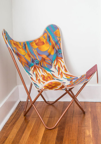 Relaxed and Ravishing Butterfly Chair in Flora by Karma Living - Cotton, Woven, Multi, Floral, Boho, Best, Dorm Decor, Variation