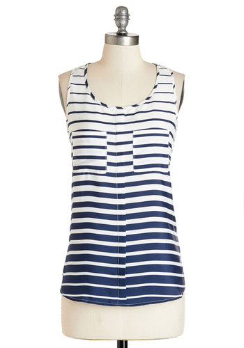 Seaside Escape Top - Mid-length, Woven, Blue, Stripes, Casual, Nautical, Sleeveless, Summer, Blue, Sleeveless, White, Pockets, Scoop