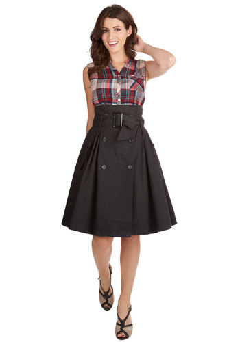 Downtown Dweller Skirt - Better, Black, Long, Cotton, Woven, Solid, Work, Full, Black, Buttons, Pleats, Pockets, Belted