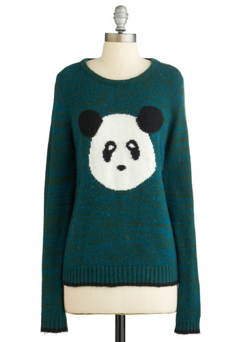Panda Extravaganza Sweater by Yumi - Long Sleeve, Green, Print with Animals, Casual, Quirky, Critters, Long Sleeve, Fall, Green, Knit, Mid-length