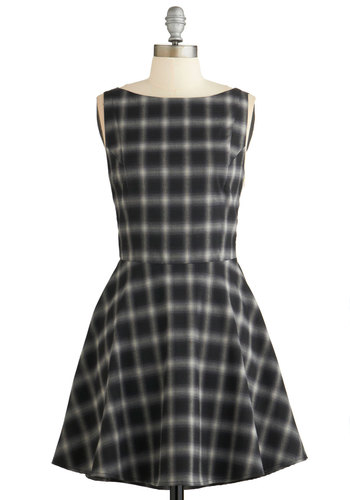 Scholar Signs Dress - Black, Grey, Plaid, Cutout, Casual, A-line, Sleeveless, Fall, Woven, Better, Boat, Vintage Inspired, 90s