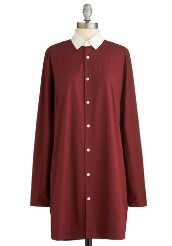 Don't You Look Dapper? Dress - Red, White, Solid, Buttons, Casual, Shirt Dress, Long Sleeve, Better, Collared, Press Placement, Short