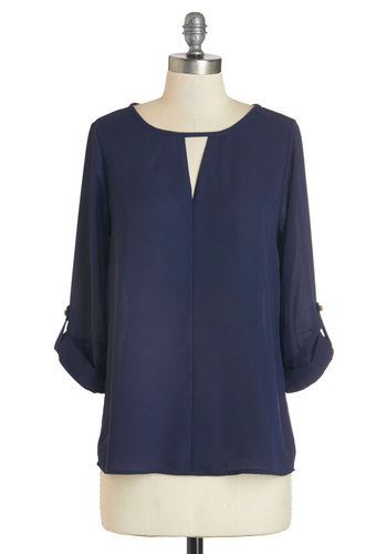 Fashion Copywriter Top - Chiffon, Woven, Blue, Solid, Work, 3/4 Sleeve, Fall, Blue, Tab Sleeve, Cutout