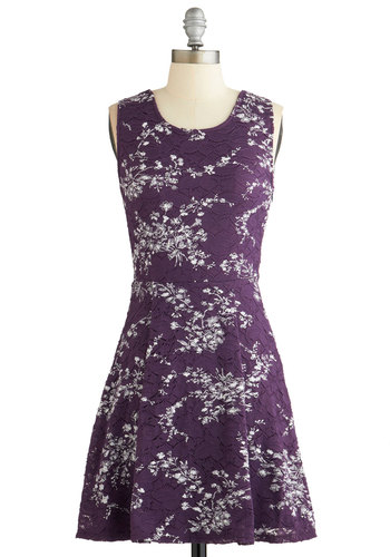 Touch of Tracery Dress - Purple, White, Floral, Casual, A-line, Sleeveless, Fall, Woven, Lace, Good, Scoop, Mid-length