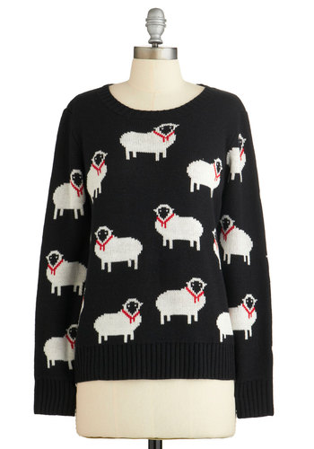 I Got Ewe, Babe Sweater - Black, White, Print with Animals, Casual, Quirky, Critters, Long Sleeve, Fall, Black, Long Sleeve, Mid-length, Winter, Knit