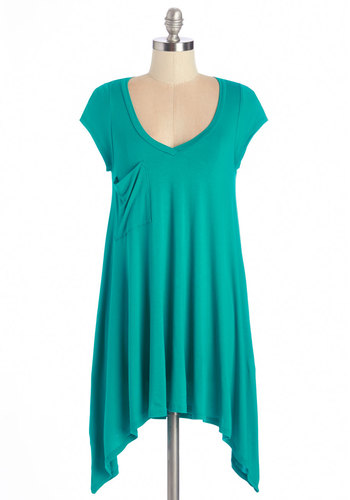A Crush on Casual Tunic in Teal - Jersey, Knit, Blue, Solid, Handkerchief, Pockets, Casual, Minimal, Cap Sleeves, Variation, Basic, V Neck, Green, Short Sleeve