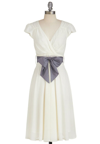 Have the Dance Floor Dress in Ivory - Woven, Long, White, Solid, Belted, Daytime Party, A-line, Cap Sleeves, Better, V Neck, Variation, Wedding, Bride, Full-Size Run