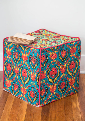 'Til There was Cube Pouf by Karma Living - Multi, Boho, Dorm Decor, Best, Print