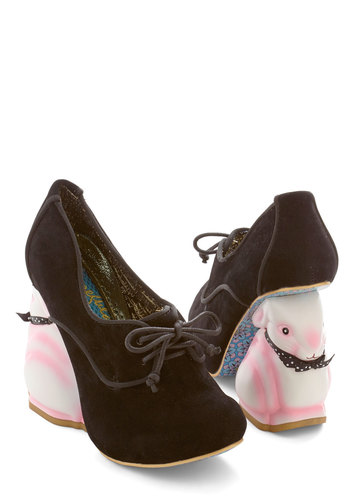 Look Who's Hare Heel in Black by Irregular Choice - International Designer, High, Faux Leather, Black, Multi, Print with Animals, Statement, Quirky, Best, Lace Up, Top Rated