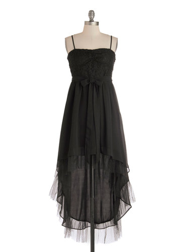 You and Nuit Dress - Black, Solid, Lace, Prom, A-line, Spaghetti Straps, Sweetheart, Mid-length, Woven, Better, Steampunk, High-Low Hem, Bridesmaid, Maternity, Special Occasion