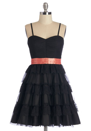 Birthday Magic Dress in Black - Black, Pink, Lace, Tiered, Special Occasion, Prom, Party, Woven, Better, Sweetheart, Tulle, Bows, Spaghetti Straps, Variation, Homecoming, Fit & Flare