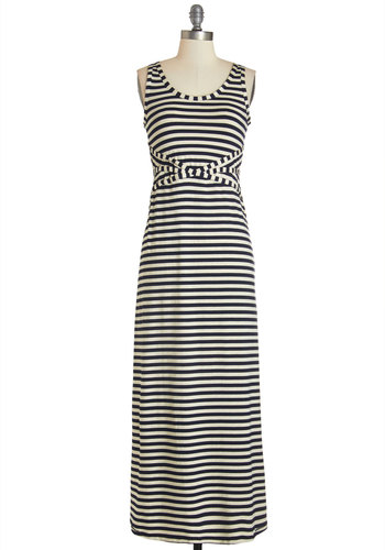 Park Promenade Dress - Blue, Stripes, Casual, Nautical, Americana, Maxi, Sleeveless, Summer, Knit, Better, Scoop, Tan / Cream