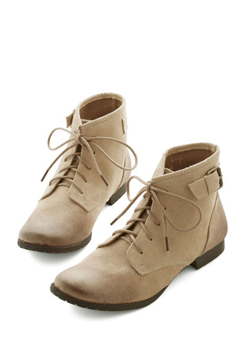 Sidewalk Talk Bootie in Sand - Tan, Solid, Buckles, Casual, Menswear Inspired, Better, Lace Up, Variation, Safari