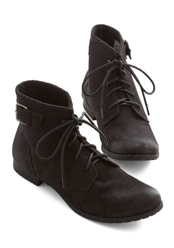 Sidewalk Talk Bootie in Black - Low, Faux Leather, Black, Solid, Buckles, Casual, Menswear Inspired, Better, Lace Up, Variation