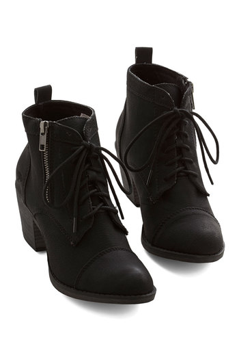 Press Playlist Bootie in Black - Mid, Faux Leather, Black, Solid, Exposed zipper, Military, Better, Lace Up, Chunky heel, Variation