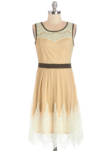 Cookie Connoisseur Dress - Brown, Bows, Lace, Trim, Party, A-line, Sleeveless, Better, Scoop, Long, Knit, Lace, Cream
