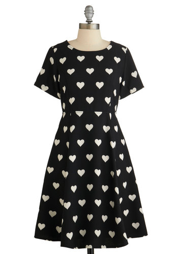 Heart Candy Dress by Kling - Black, White, Casual, A-line, Short Sleeves, Better, Scoop, Novelty Print, Cutout, Print, Woven, Mid-length, Pockets, Valentine's