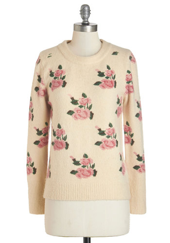 Romcom Marathon Sweater - White, Long Sleeve, Cream, Pink, Floral, Casual, Darling, Long Sleeve, Scholastic/Collegiate, Winter, Crew, Mid-length, Knit, Spring
