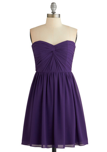 No Place Like Homecoming Dress - Purple, Solid, Prom, Homecoming, A-line, Strapless, Woven, Better, Sweetheart, Ruching, Special Occasion, Party, Mid-length, Wedding, Bridesmaid, Valentine's