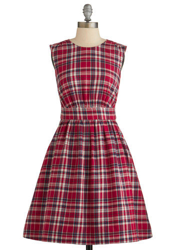 Too Much Fun Dress in Red Plaid by Emily and Fin - Red, Plaid, Casual, Scholastic/Collegiate, Sleeveless, Better, Cotton, Woven, Pockets, Variation, Mid-length, Fit & Flare