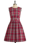 Too Much Fun Dress in Red Plaid