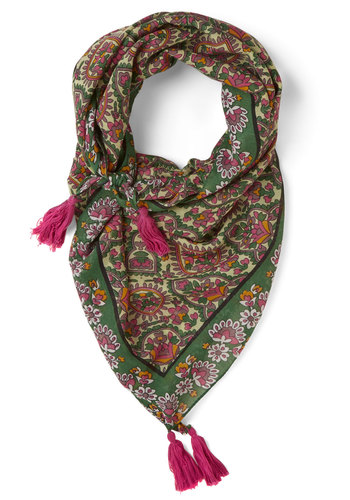 Complement with Color Scarf - Green, Multi, Tassels, Festival, Paisley, Sheer, Woven, Boho, Fall