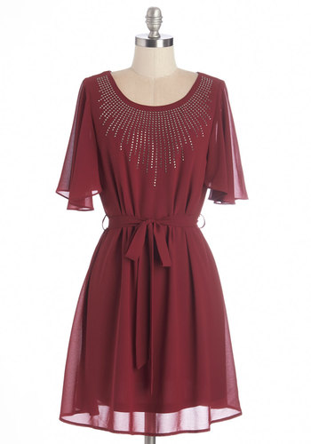 Sparkle and Smile Dress - Red, Solid, Studs, Belted, Party, A-line, Short Sleeves, Fall, Woven, Good, Scoop, Mid-length