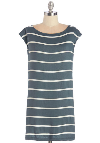 Got to Get Easygoing Tunic in Dove Grey - Jersey, Knit, Grey, Stripes, Casual, Cap Sleeves, Variation, Grey, Short Sleeve, Pockets