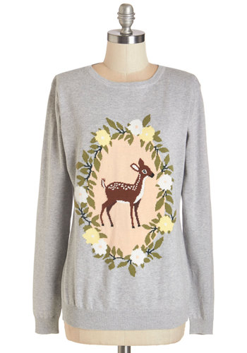 Deer, Far, Wherever You Are Sweater by Sugarhill Boutique - Grey, Long Sleeve, Cotton, Knit, Grey, Print with Animals, Novelty Print, Casual, Kawaii, Quirky, Darling, Critters, Woodland Creature, Long Sleeve, Spring, Fall, International Designer, Crew