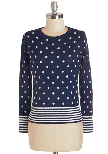 Dream Come Cute Sweater - Blue, Long Sleeve, Knit, Blue, Polka Dots, Stripes, Work, Long Sleeve, Fall, White, Casual, Crew