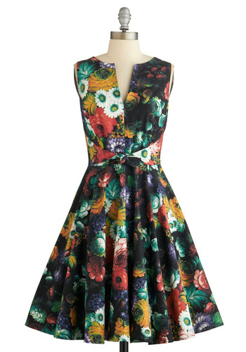 Painted with Panache Dress in Garden - Multi, Floral, Bows, Special Occasion, Daytime Party, Fit & Flare, Sleeveless, Better, Mid-length