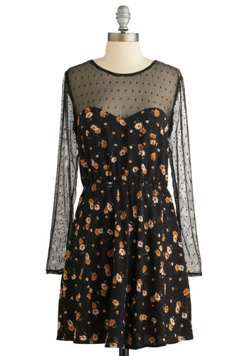 RTV CLOSED (10/1/14): Garden Noir Dress - Floral, Casual, Girls Night Out, A-line, Long Sleeve, Winter, Woven, Good, Scoop, Vintage Inspired, 90s, Black, Multi, Sheer, Short