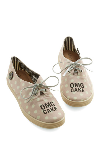 So Much Yes Sneaker - Flat, Woven, Pink, Tan / Cream, Polka Dots, Novelty Print, Casual, Statement, Quirky, Better, Lace Up
