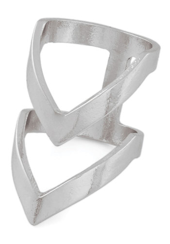 Put a Ring Chevron It! Ring in Silver - Silver, Solid, Mod, Chevron, Minimal, Variation, Fall, 60s
