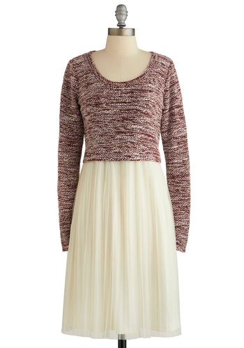 Easily the Sweetest Dress - Red, Tan / Cream, Pleats, Casual, A-line, Long Sleeve, Winter, Better, Scoop, Sweater Dress, Long