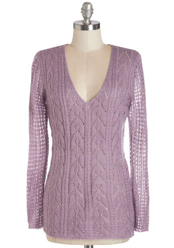Photobooth Pretty Sweater - Sheer, Knit, Purple, Solid, Knitted, Casual, Long Sleeve, V Neck, Purple, Long Sleeve