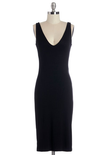 Saturday Tradition Dress - Black, Solid, Midi, Sleeveless, Knit, Good, V Neck, Jersey, Party, Cocktail, Girls Night Out, LBD