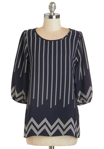 Outstanding at the Office Top - Woven, Blue, Chevron, Work, 3/4 Sleeve, Blue, 3/4 Sleeve, Print, Scoop