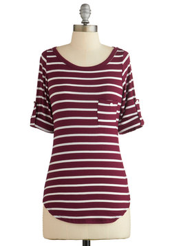 Stripe Zone Top in Burgundy